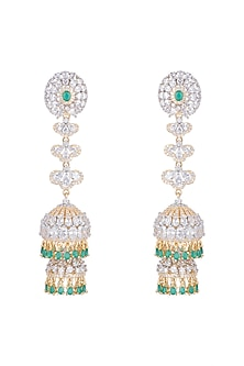 Gold Finish Long Jhumki Earrings With Green Stones by Aster
