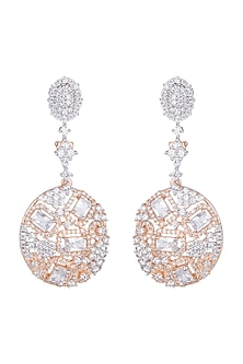 Gold Finish Earrings With Faux Diamonds by Aster
