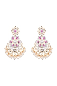 Gold Finish Kundan Earrings With Dark Pink Stones by Aster