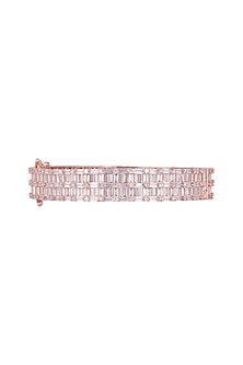 Rose Gold Finish Openable Bangle With Faux Diamonds by Aster