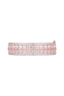 Rose Gold Finish Openable Kada Bracelet With Faux Diamonds by Aster