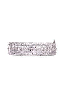 White Finish Openable Kada Bracelet With Faux Diamonds by Aster