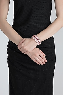 Rose Gold Finish Openable Kada Bracelet With Red Stones by Aster