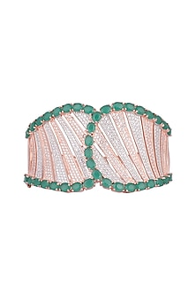 Rose Gold Finish Openable Kada Bracelet With Green Stone by Aster