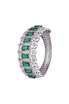 Black Finish Faux Diamonds Kada Bracelet by Aster