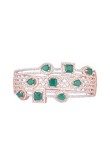 Rose Gold Finish Faux Diamonds & Stones Bracelet by Aster