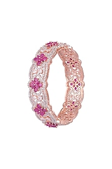 Rose Gold Finish Faux Diamonds & Stones Bangle by Aster
