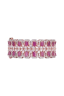 Rose Gold Finish Faux Diamonds & Dark Pink Stones Bangle by Aster
