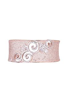 Rose Gold Finish Faux Diamonds Cuff Bracelet by Aster
