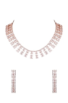 Rose Gold Finish Faux Diamonds Necklace Set by Aster