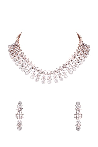 Rose Gold Finish Necklace Set With Faux Diamonds by Aster
