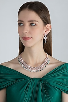 Rose Gold Finish Faux Diamonds & Green Stones Necklace Set by Aster
