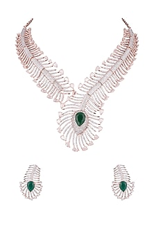 Rose Gold Finish Stones & Faux Diamonds Necklace Set by Aster