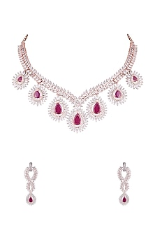 Rose Gold Finish Red Stones & Faux Diamonds Necklace Set by Aster-JEWELLERY ON DISCOUNT