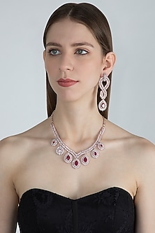 Rose Gold Finish Red Stones & Faux Diamonds Necklace Set by Aster