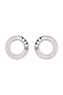 White Finish Diamond Stud Earrings by Aster