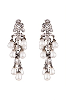 Black Rhodium Finish Pearl Earrings by Aster