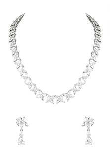 White Finish Diamond Collar Necklace Set by Aster