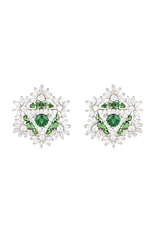 White Finish Diamond Oversized Stud Earrings by Aster