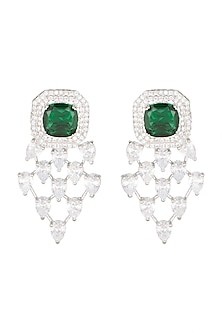 White Finish Diamond & Green Stone Earrings by Aster