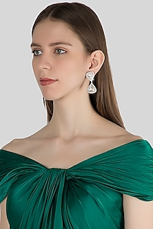 White Finish Kundan Earrings by Aster