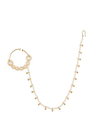 Gold Finish Kundan & Faux Pearl Nose Ring With Kan Chain by Aster
