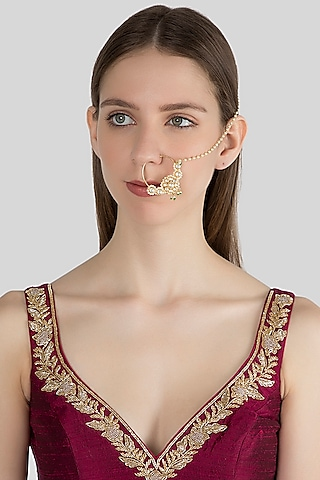 Gold Finish Green Stone Nose Ring With Kan Chain by Aster