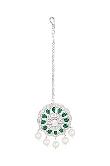 White Finish Green Stone & Diamond Maang Tikka by Aster