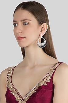 White Finish Blue Stone Dangler Earrings by Aster