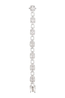 White Finish Flexible Diamond Bracelet by Aster