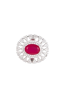 White Finish Red Stone Cocktail Ring by Aster