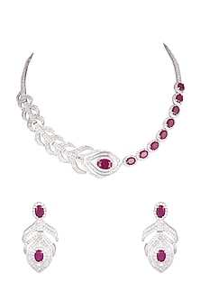 White Finish Feather Shaped Necklace Set by Aster-POPULAR PRODUCTS AT STORE