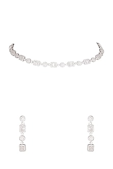White Finish Single Line Necklace Set by Aster-POPULAR PRODUCTS AT STORE