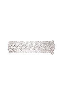 White Finish Diamond Kada Bracelet by Aster