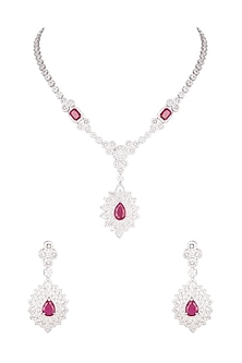 White Finish Stone & Diamond Necklace Set by Aster-POPULAR PRODUCTS AT STORE