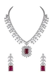White Finish Stone & Diamond Necklace Set by Aster