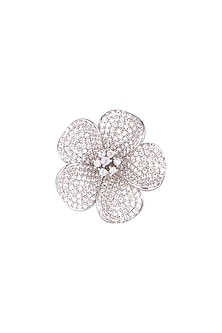White Finish Diamond Floral Ring by Aster