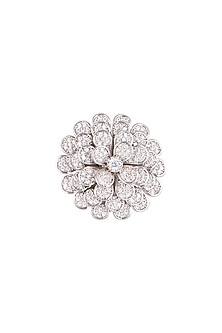 White Finish Diamonds Layered Floral Ring by Aster