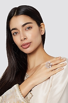 White & Rose Gold Finish Floral Ring by Aster