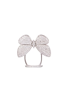 White Finish Diamond Butterfly Ring by Aster