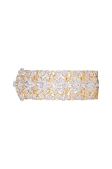 Gold Finish Pearl Floral Bangle by Aster