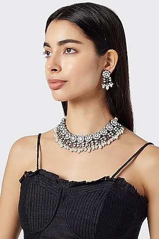 Black Rhodium Finish Kundan Necklace Set by Aster