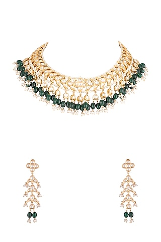 Gold Plated Faux Pearls Necklace Set by Aster