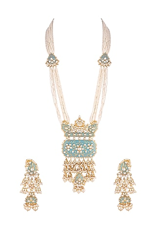 Gold Plated Meenakari Necklace Set by Aster