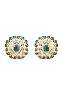Gold Finish Kundan & Diamond Stud Earrings by Aster