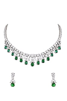 White Finish Green Stone Necklace Set by Aster