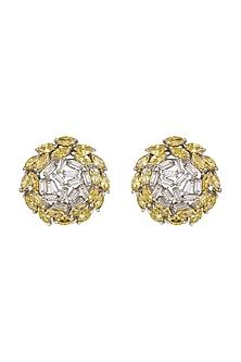 White Finish White Diamond Earrings by Aster