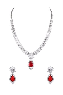 White Finish Red Stone Necklace Set by Aster