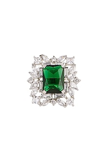 White Finish Green Stone Ring by Aster