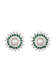 White Finish Pearl Stud Earrings by Aster